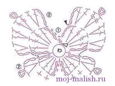 Как связать маленькие бабочки крючком