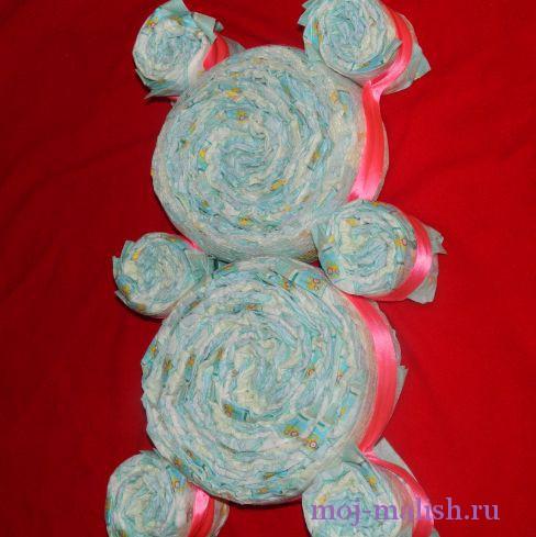 Как сделать мишку из памперсов своими руками пошагово