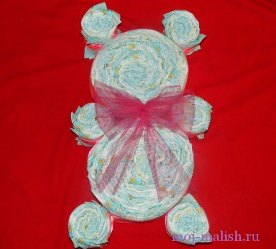 Мишка из памперсов своими руками пошагово фото 6