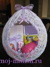 Пасхальное яйцо из ниток готово